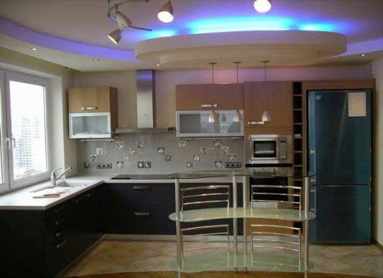 Дизайн потолков на кухне гипсокартон